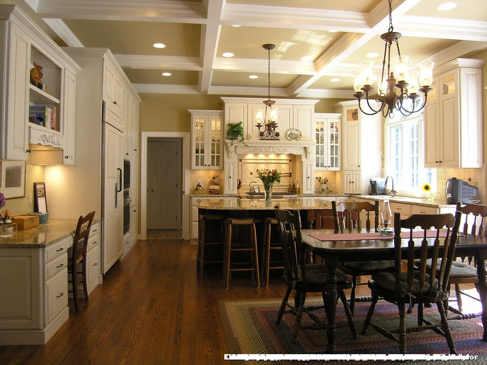 Kitchens with 12 Foot Ceilings for Traditional Kitchen and Glass Doors