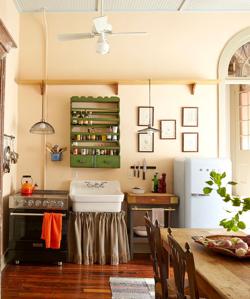 Kitchens with Utility Sinks for Shabby Chic Style Kitchen and Green Cabinet