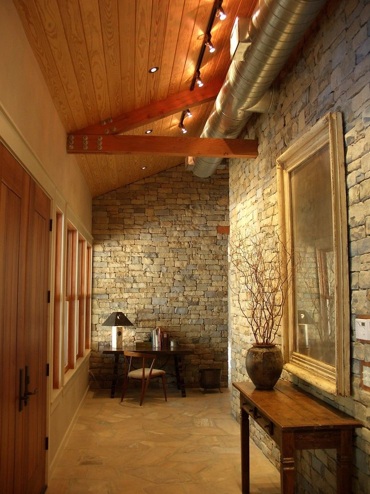 Modern Stone Veneer  for Contemporary Entry and Front Door