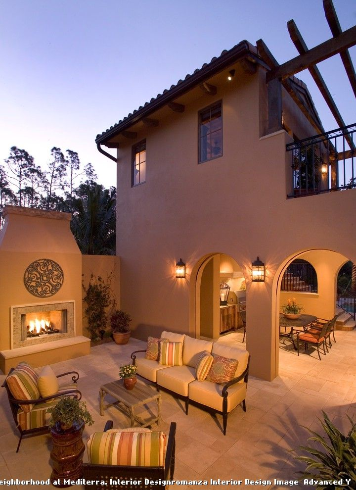 Spanish style outdoor patio paving for rustic patio and for Spanish style exterior