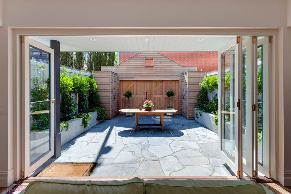 Spanish Style Outdoor Patio Paving for Rustic Patio and Bifold Doors