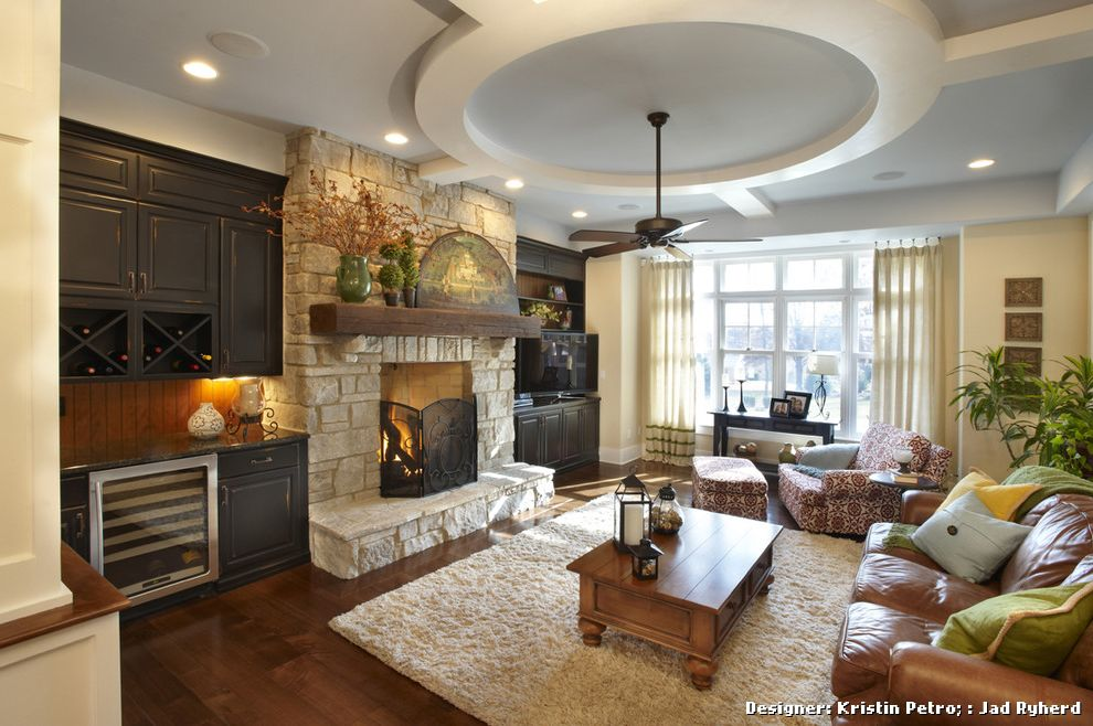 Stackable Stone Fireplace With Built Ins On Each Side For Traditional Family Room And Mantel