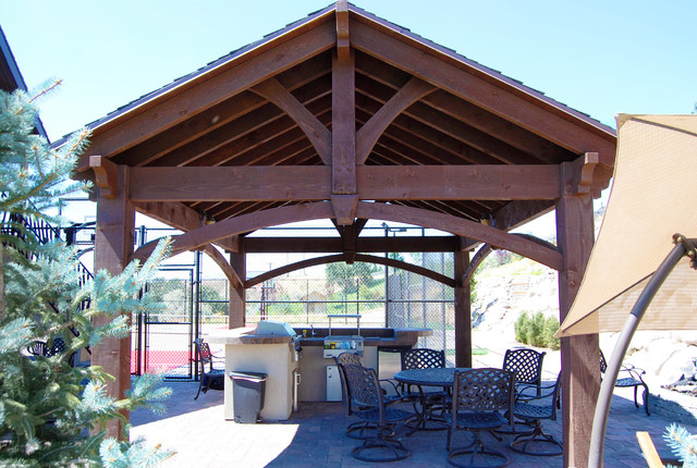 16x20 frame Patio with covered patio dovetail timber