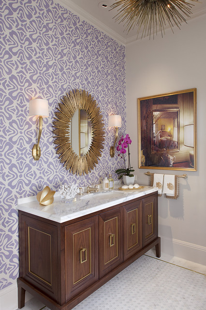 48 Inch Double Sink Vanity Bathroom Contemporary with Accent Tile Accent Wall