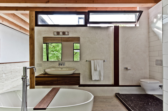 48 Inch Double Sink Vanity Bathroom Contemporary with Clerestory Windows Exposed Beams