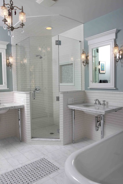 48 Inch Double Sink Vanity Bathroom Traditional with Basketweave Accent Basketweave Tile