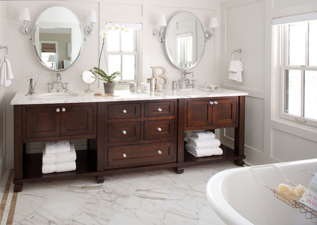 48 inch double sink vanity Bathroom Traditional with clawfoot tub dark stained