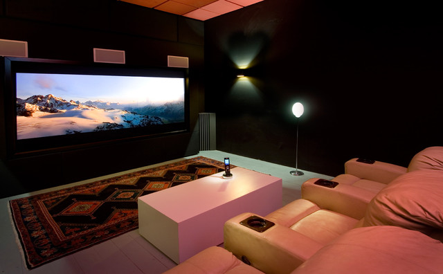 8 5x11 Frame Home Theater Contemporary with Area Rug Black Room