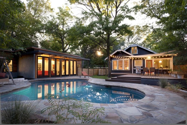 Above Ground Pool Deck Plans Pool Modern with Backyard Bungalow Cabana Courtyard