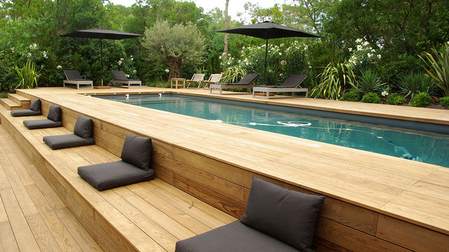 Above Ground Pool Decks Pool Contemporary with 2 Parasols Noirs Banquette