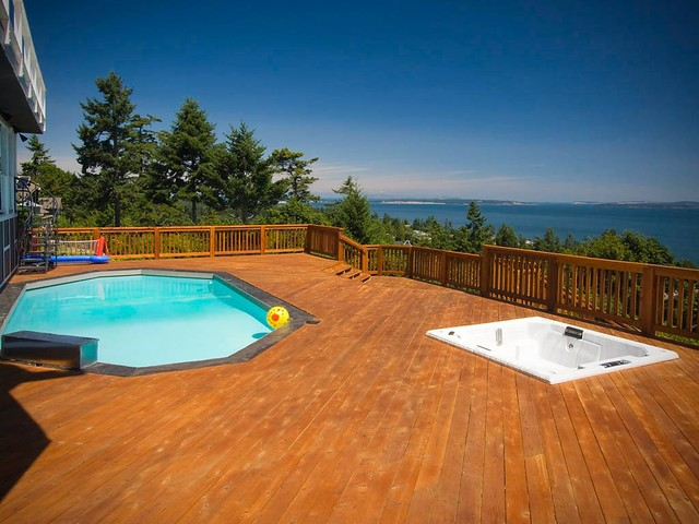 above ground pools with decks Deck Contemporary with aryze developments BBQ beautiful