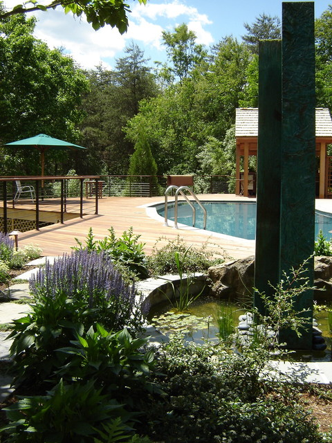 Above Ground Pools with Decks Landscape Rustic with Aquatic Garden Deck Garden