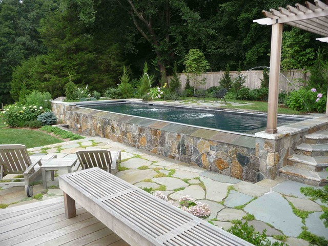 Above Ground Pools with Decks Pool Beach with Coping Flagstone Fountains Gate