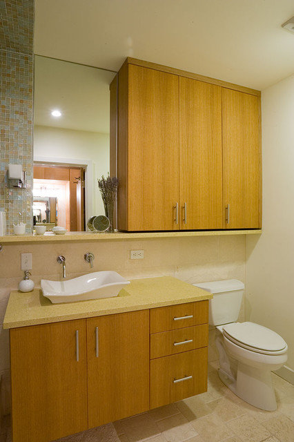 Above Toilet Cabinet Bathroom Contemporary with Floating Cabinet Glass Tile