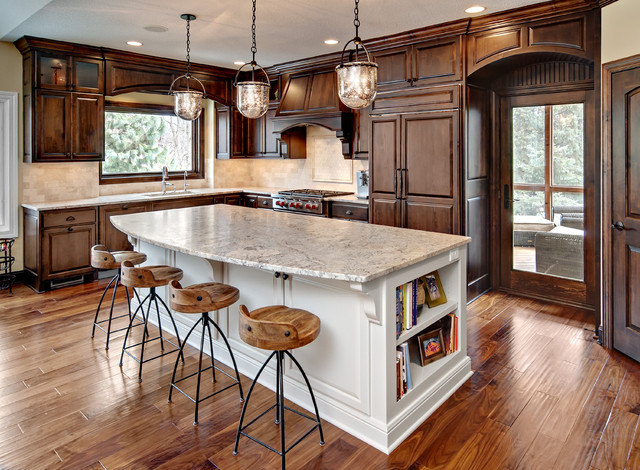 Acacia Flooring Kitchen Traditional with Bell Pendants Breakfast Bar