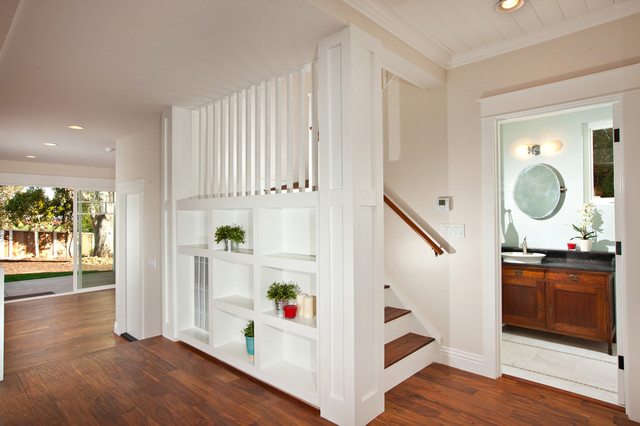 Acacia Flooring Staircase Craftsman with Acacia Floors Bookshelves Built In
