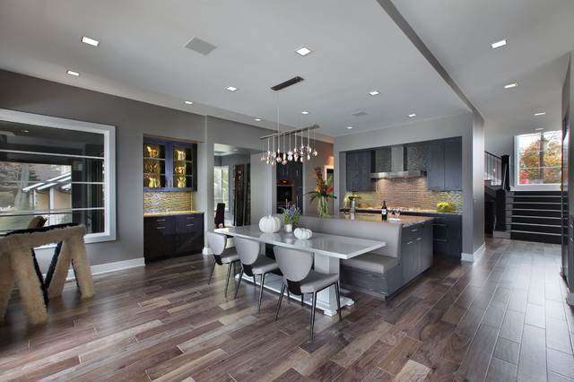 acacia wood flooring Kitchen Contemporary with banquette seating beige tile