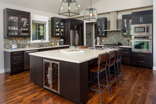 Acacia Wood Flooring Kitchen Contemporary with Beige Countertop Beige Mosaic1