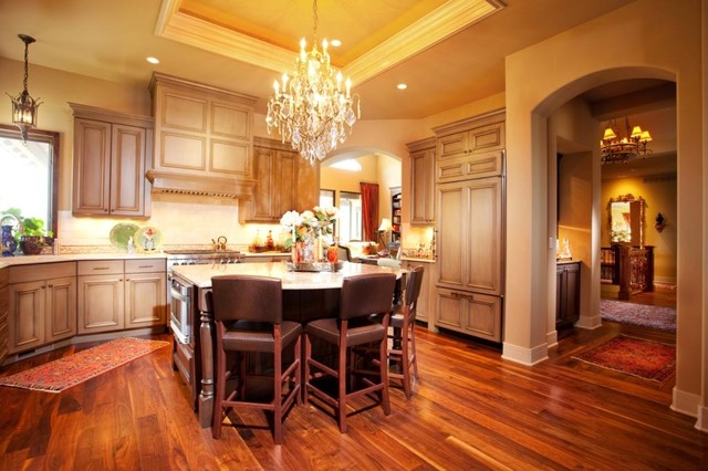 acacia wood flooring Kitchen Traditional with accent tile backsplash barstools