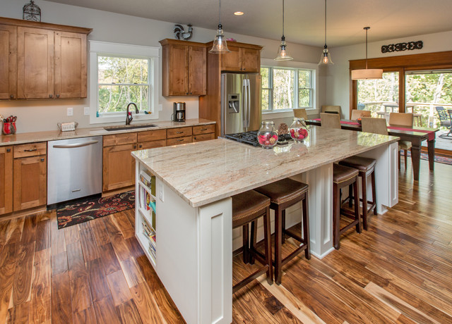Acacia Wood Flooring Kitchen Transitional with Breakfast Bar Eat in Kitchen