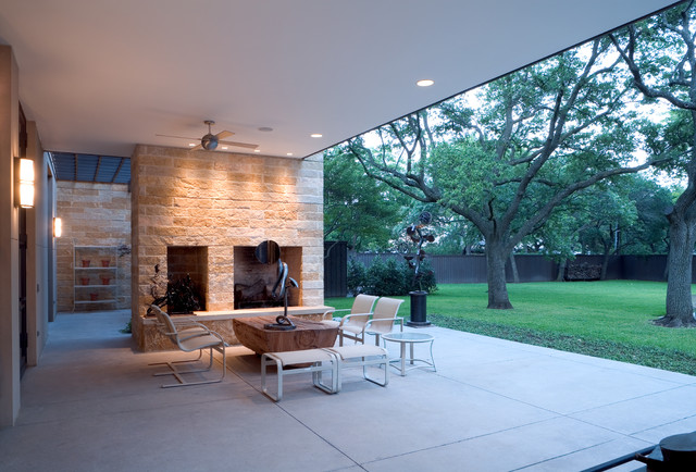 Acid Wash Concrete Patio Modern with Back Patio Ceiling Fan