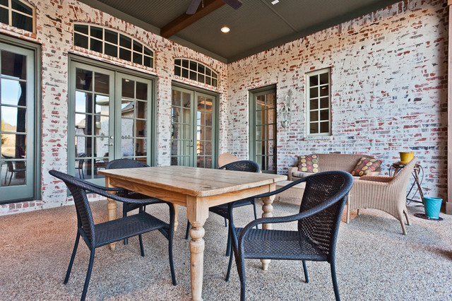 Acme Brick Patio Traditional with Black Outdoor Chairs Brick