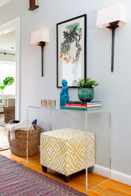 Acrylic Console Table Entry Transitional with Aloof Gray Bright Colos
