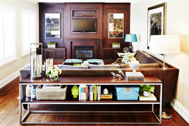 Acrylic Console Table Family Room Contemporary with Brown Couch Built in Storage