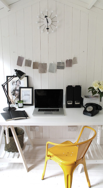 adjustable standing desk Home Office Scandinavian with abstract clock airy black