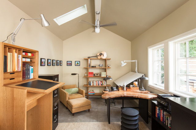 Adjustable Standing Desk Home Office Transitional with Ceiling Fan Converted Garage