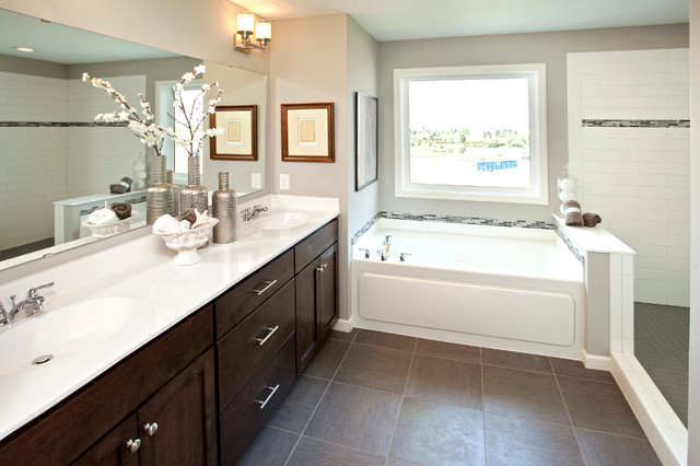 Adura Flooring Bathroom Traditional with Bathtub Bathtub Surround Dark