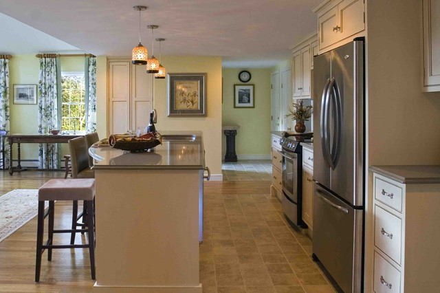 adura flooring Kitchen Traditional with accent tile barstools console