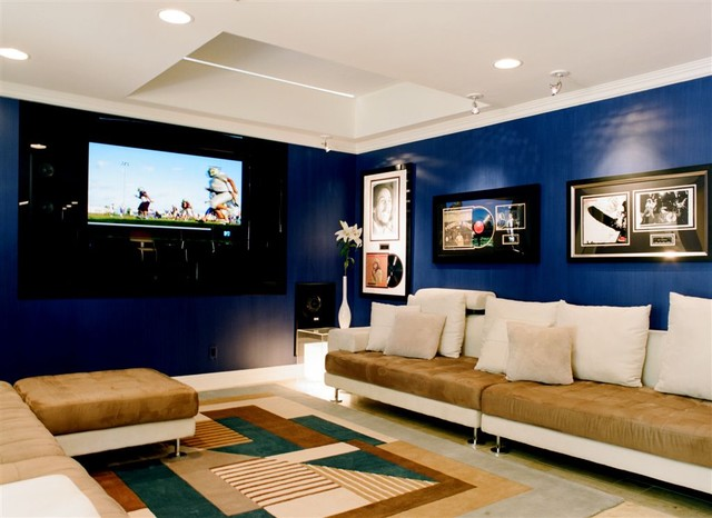 Affordable Couches Home Theater Contemporary with Bench Blue Walls Contemporary
