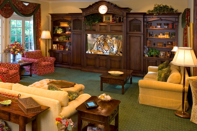Aiken Housing Center Home Theater Traditional with Armchair Big Screen Bookcase