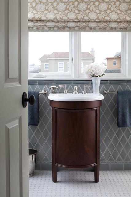 Akdo Tile Bathroom Traditional with Casement Windows Floral Arrangement