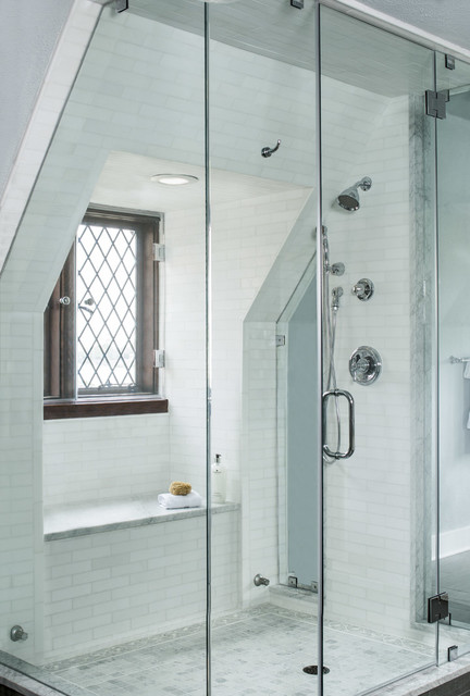 Akdo Tile Bathroom Traditional with Diamond Glass Frameless Shower