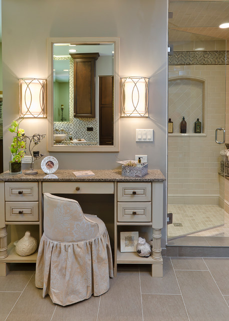 Allen and Roth Lighting Bathroom Traditional with Bathroom Mirror Beige Makeup
