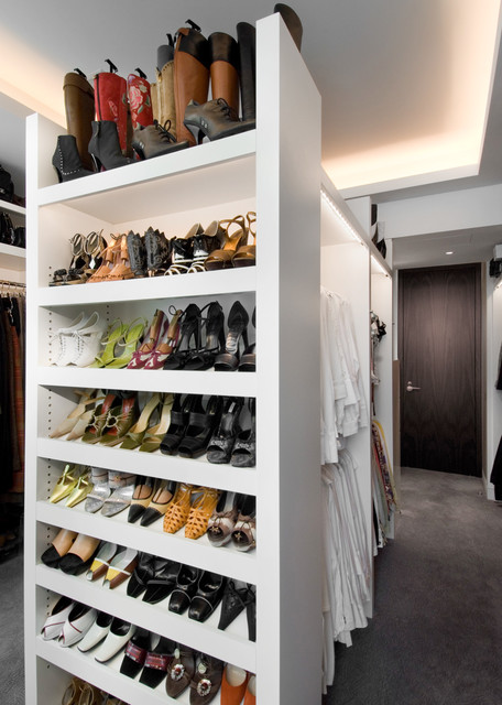 Allen Roth Closet Closet Contemporary with Cove Lighting Shoe Storage
