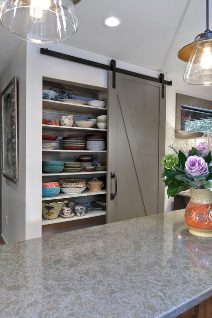 Allen Roth Closet Kitchen Transitional with Barn Doors Pantry Pottery