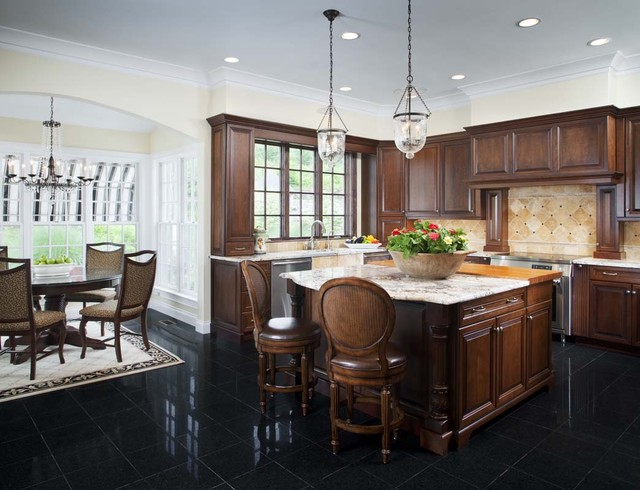 allen roth lighting Kitchen Traditional with barstools black floor crystal