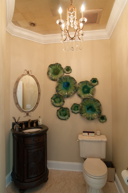 Ambella Home Bathroom Traditional with 18 Carat Gold Wallcovering