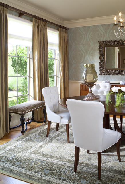 Ambella Home Dining Room Traditional with Bench French Window Mirror1