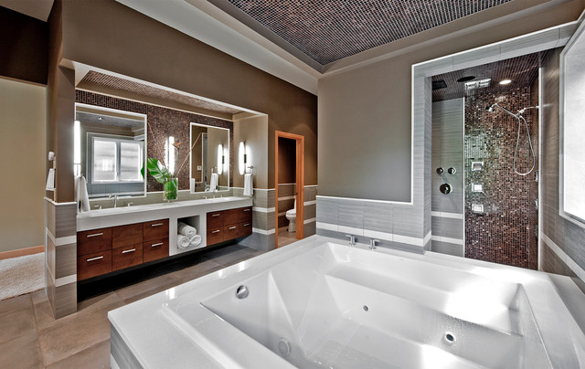 American Olean Tile Bathroom Contemporary with Bathtub Double Sink Jacuzzi