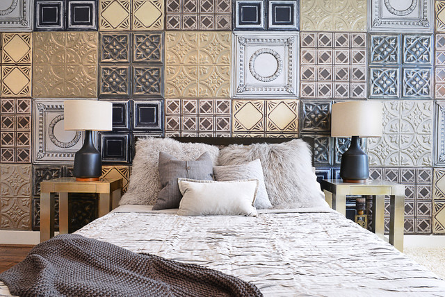 American Tin Ceilings Bedroom Eclectic with Black Lamps Gray Tiles1