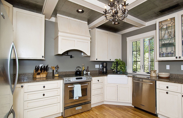 American Tin Ceilings Kitchen Traditional with Chandelier Coffered Ceiling Granite