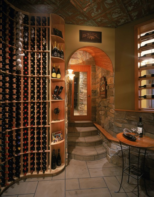 American Tin Ceilings Wine Cellar Traditional with Arch Archway Beige Stone