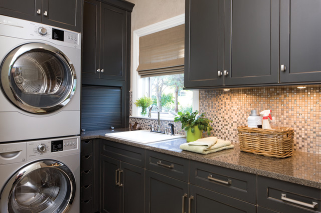 Amerock Hardware Laundry Room Traditional with Backsplash Black Black Cabinet