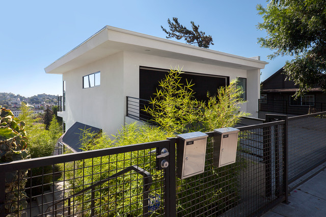Architectural Mailboxes Exterior Modern with Balcony Black Windows Contemporary