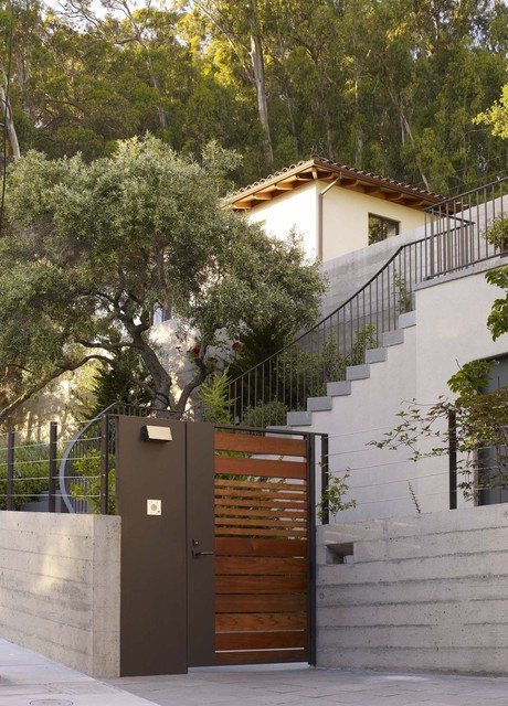 Architectural Mailboxes Landscape Modern with Concrete Wall Entry Gate