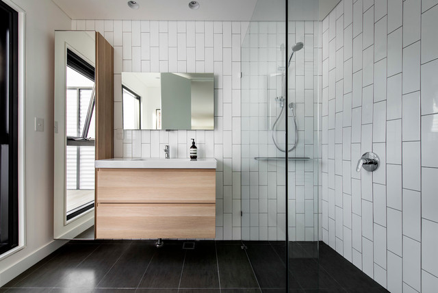 arizona tile tempe Bathroom Contemporary with black and white tile